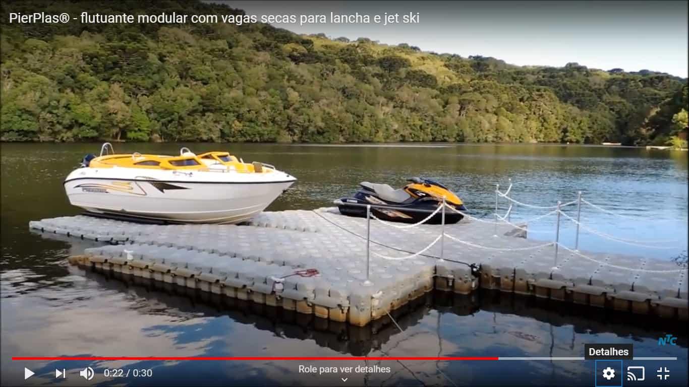 Vídeo com vaga seca flutuante para lancha e jet ski pierplas ntc float